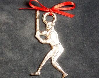 Pewter Baseball Player Ornament
