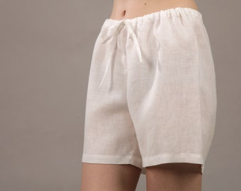 Linen sleep shorts with draw-string