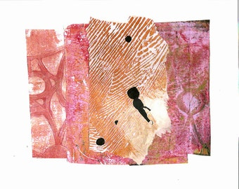 "Welcome Spring - Collage with Hand Painted Papers 6x8"" on 8X10"" Backing"