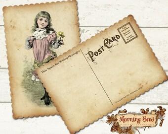 Victorian postcard, Children cards, Set of 4 Printable instant download, Measures 4 x 6 inch, Back Side included, Vintage card