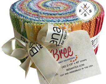 "Nancy Halvorsen Bree Pinwheel 2.5"" Precut Fabric Quilting Cotton Strips Jelly Roll Benartex"