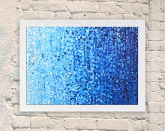 Giclee Print - First Frost  - Giclee Print of Abstract Acrylic Painting on Canvas - Blue and White by Louise Mead