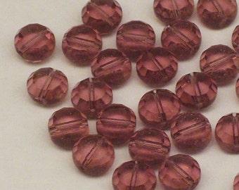 15 8mm Purple Czech Glass Coin Beads