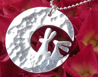 Moon Bunnies Sterling Silver Necklace