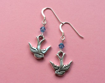 Silver swallow bird earrings 925 sterling silver earwires Personalised blue Swarovski crystal UK seller