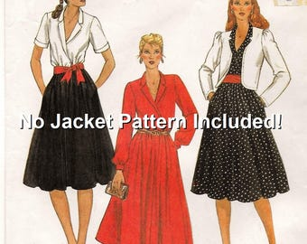 """A Pullover, Long or Short Sleeve, Notched Collar, Flared Skirt, Belted Dress Sewing Pattern for Women: Size 10, Bust 32-1/2"""" • McCall's 7891"""