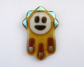Yellow Honey fused glass Hamsa Suncatcher with a golden spark