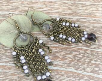 Oriental studs in bronze, amethyst and purple beads