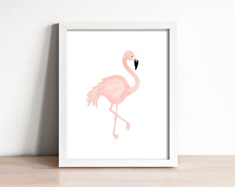 flamingo print, modern nursery art print, flamingo wall art, kids wall art, nursery decor, pink wall decor, girls room decor, tropical print