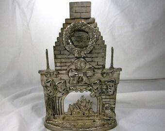 Godinger Candlestick Holder / Vintage Christmas Decor / Godinger Christmas Fireplace / Vintage Silverplate Candleholder