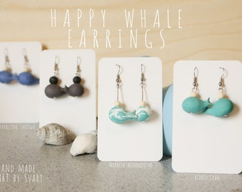 Cute Hand Made Happy Whale Polymer Clay Earrings