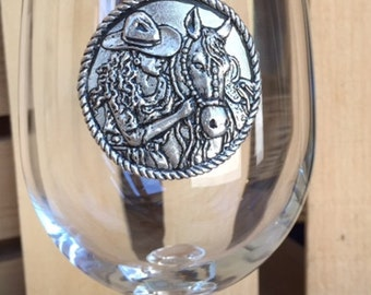Cowgirl and Horse Pewter Emblem on Wine Glass