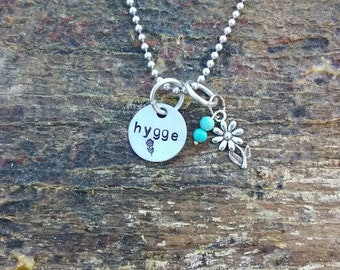 Hygge hand stamped pendant. Your choice of either Necklace or Keychain