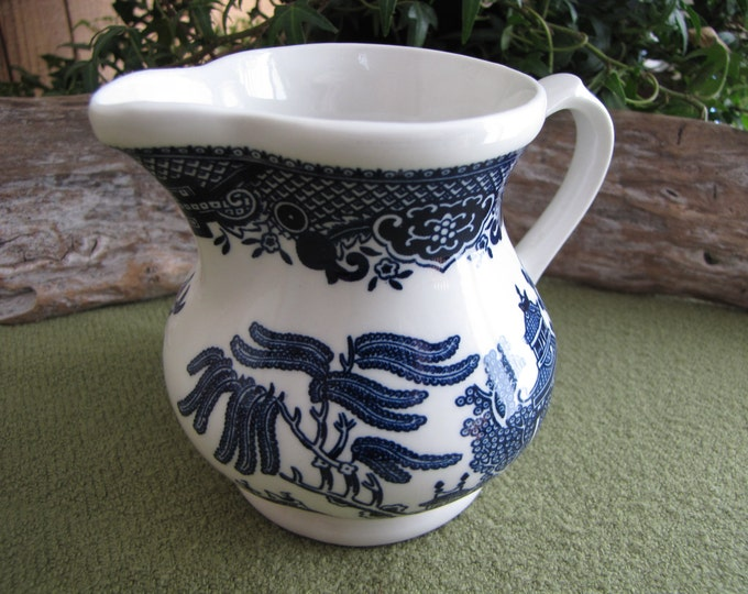 Vintage Blue Willow Ware Cream Pitcher 1989 Churchill Made in Staffordshire England