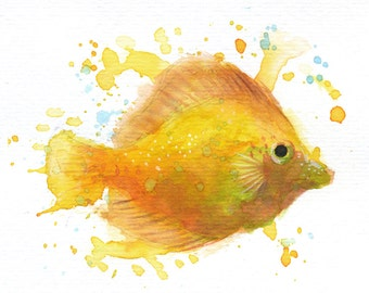 "Yellow Fish - ORIGINAL Watercolor - 4.5x5.5"" - Fish, UNFRAMED, Painting by Bruno M Carlos"