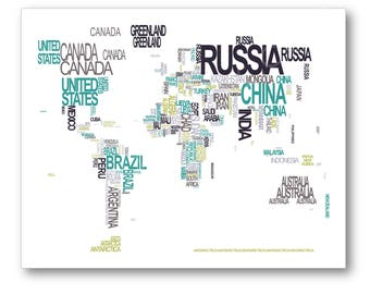 World Map Typography Poster Print, Typographic Atlas Art with Country Names, Country Name World Map Art Poster
