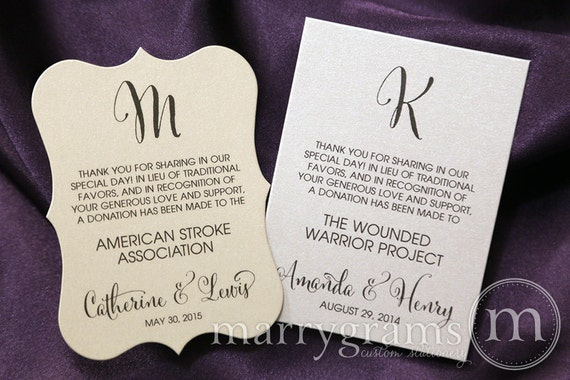 Wedding favor donation cards in lieu of favors reception stopboris Image collections
