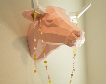 Fake Trophy Cow Cattle, Cow Deco kit, diy papercraft kit in many colors, rose and white paper sculpture, paper animal