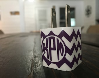 Monogrammed Chevron Charger Adapter Vinyl Decal Wrap
