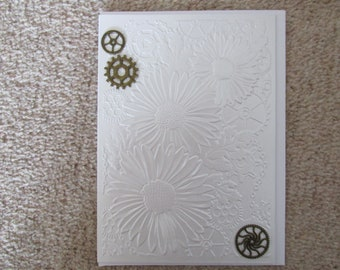Greetings Card *Made in UK* Blank Occasions Birthday Anniversary Celebration*Hand Crafted Flowers and Cogs*
