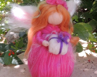 Needle Felted Wool Fairy - Fuchsia Gifting Angel- Waldorf inspired standing doll - soft sculpture