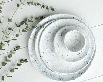 Ceramic dinnerware set splash blue and white Minimalistic white plate set Pottery plate set & Handmade dinnerware | Etsy
