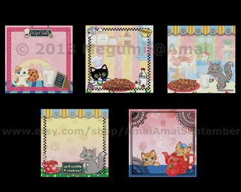 """5 designs - 3x3"""" Kitties & Chocolate Chip Cookies Sticky Note Pad.  cat kitten tea coffee shop time milk cup sweets art picture stickie memo"""