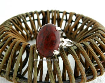 Silver Ring Red Breciated Jasper Cab Stone Sterling Silver Setting Fine Jewelry