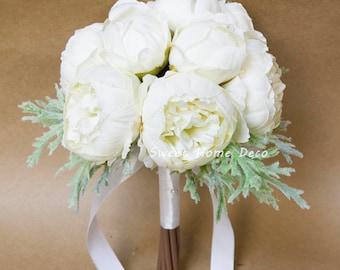 JennysFlowerShop 8''W Silk Peony Bouquet with Dusty Miller for Wedding Bouquet Boutonniere