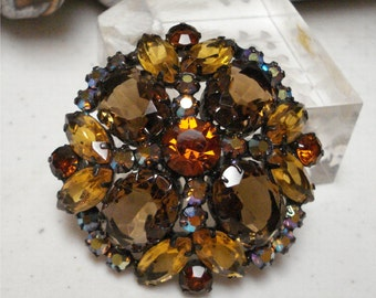 2 1/8 Large Dome Amber AB Rhinestone Brooch Gorgeous Vintage