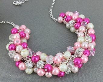Hot Pink and Ivory Necklave  Bridesmaid Jewelry Cluster Pearl Necklace Shade of Pink Necklace Bridesmaid Gift Pearl Jewelry