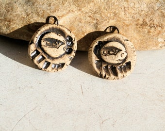 2 charms for earrings, medals, hippie boho chic, ooak handmade rustic earthy primitiv supply