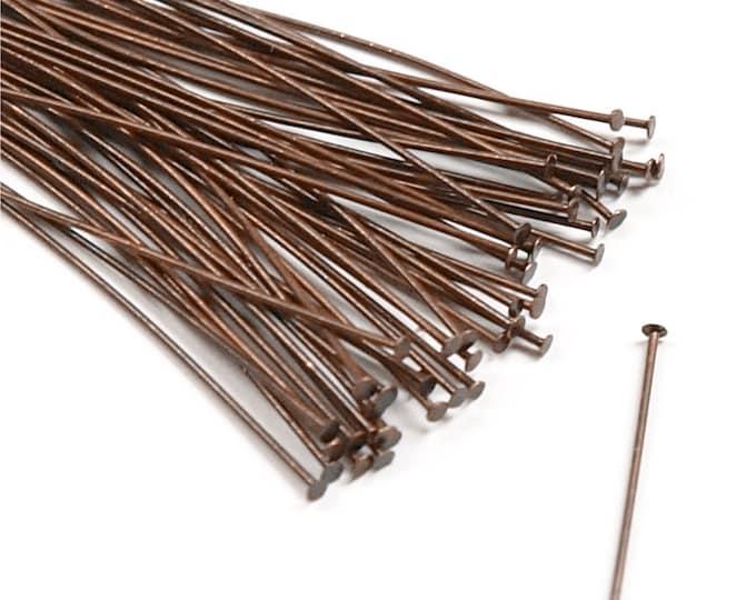 Head Pin, 2 in/24 ga, Antique Copper - 50 Pieces (HPBAC-5024)
