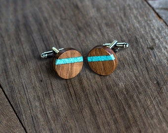 WOODEN CUFFLINKS, Wedding Cufflinks | Cuff Links | Groom Cufflinks | groomsmen cufflinks| gift for him  WALNUT Wood with turquoise inlay