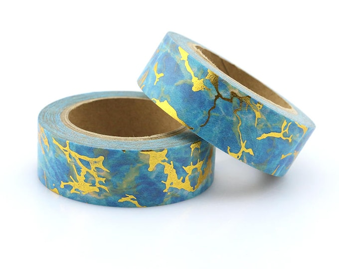 Gold Foil Blue Marbled Washi Tape - Foil washi Tape -  Marbled Washi Tape - Paper Tape - Planner Washi Tape - Washi - Decorative Tape