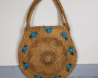 large Vintage Raffia Flower Tote Handbag  Purse ~ TIKI ~MCM beach bag woven Straw blue Flowers