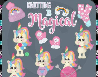 Knitting Is Magical, Unicorns - Instant Download - Exclusive Commercial Use Digital Clipart Elements Graphics Set
