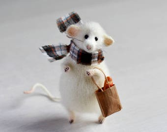 Mouse toy stuffed animal knitted rat mouse art doll felt ooak decoration Mothers day rat home decor gift for her mice gift plush kawaii