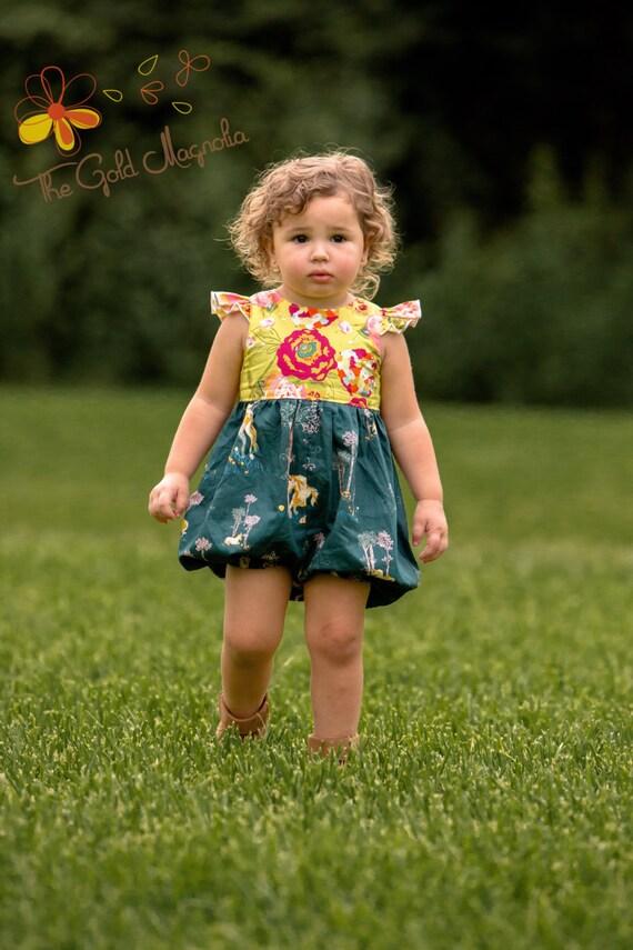 Girls Unicorn Bubble Romper - Unicorn Birthday – Fall Unicorn Romper – Gold Floral Romper Unicorn – Fall Boutique Romper – Toddler Romper