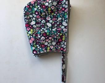 Floral Bonnet, Striped Bonnet, Reversible Girls Bonnet