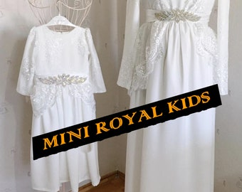 MOMY & I COLLECTION : Mother and daughter handmade White dress with lace