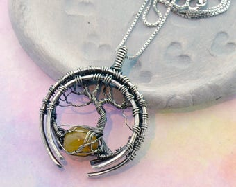Tree of Life - Silver & Fire Opal