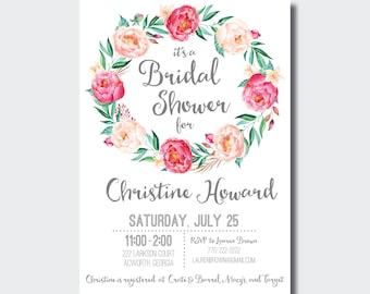 Bridal Shower Invitation | Floral Baby Shower Invite | Boho Bridal Shower