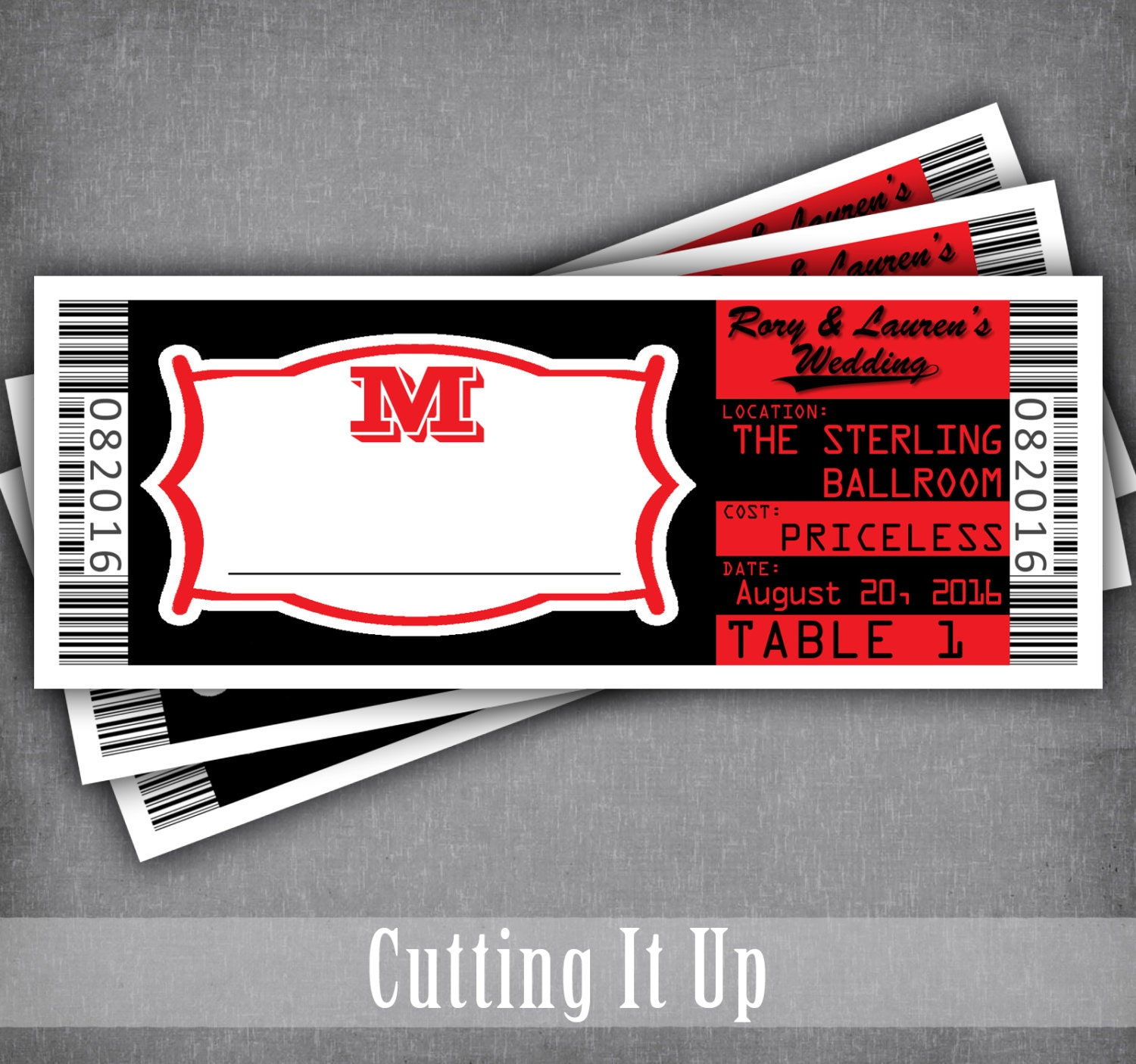 Movie Ticket Place Card Concert Escort Cards Seating