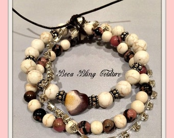 Custom Double Strand Beaded Bracelet with Rhinestone accents