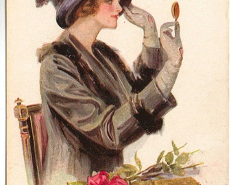 Vintage Postcard, Artist Signed, F Earl Christy, Lovely Lady with Roses, ca 1910