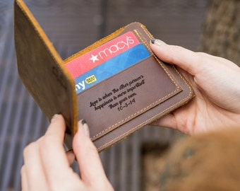 Personalized Leather Wallet - Personalized 3rd Leather Anniversary Gift - Custom Monogrammed Engraved Brown Mens Bifold Wallet