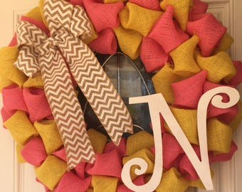 Pink Monogrammed Wreath - Summer Wreath - Spring Wreath - Easter Wreath - Mother's Day Gift for Mom - Housewarming Gift - Letter N Initial