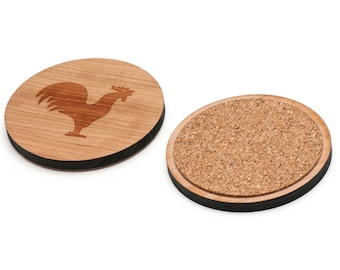 Rooster Wooden Coasters Set of 4, Gifts For Him, Wedding Gifts, Groomsman Gifts, and Personalized