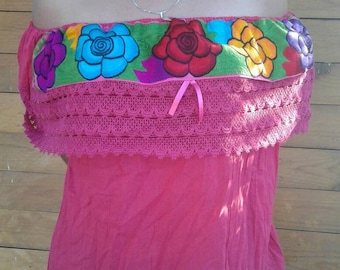 Mexican Embroidered peasant blouse off shoulder ONE SIZE/SMALL to large